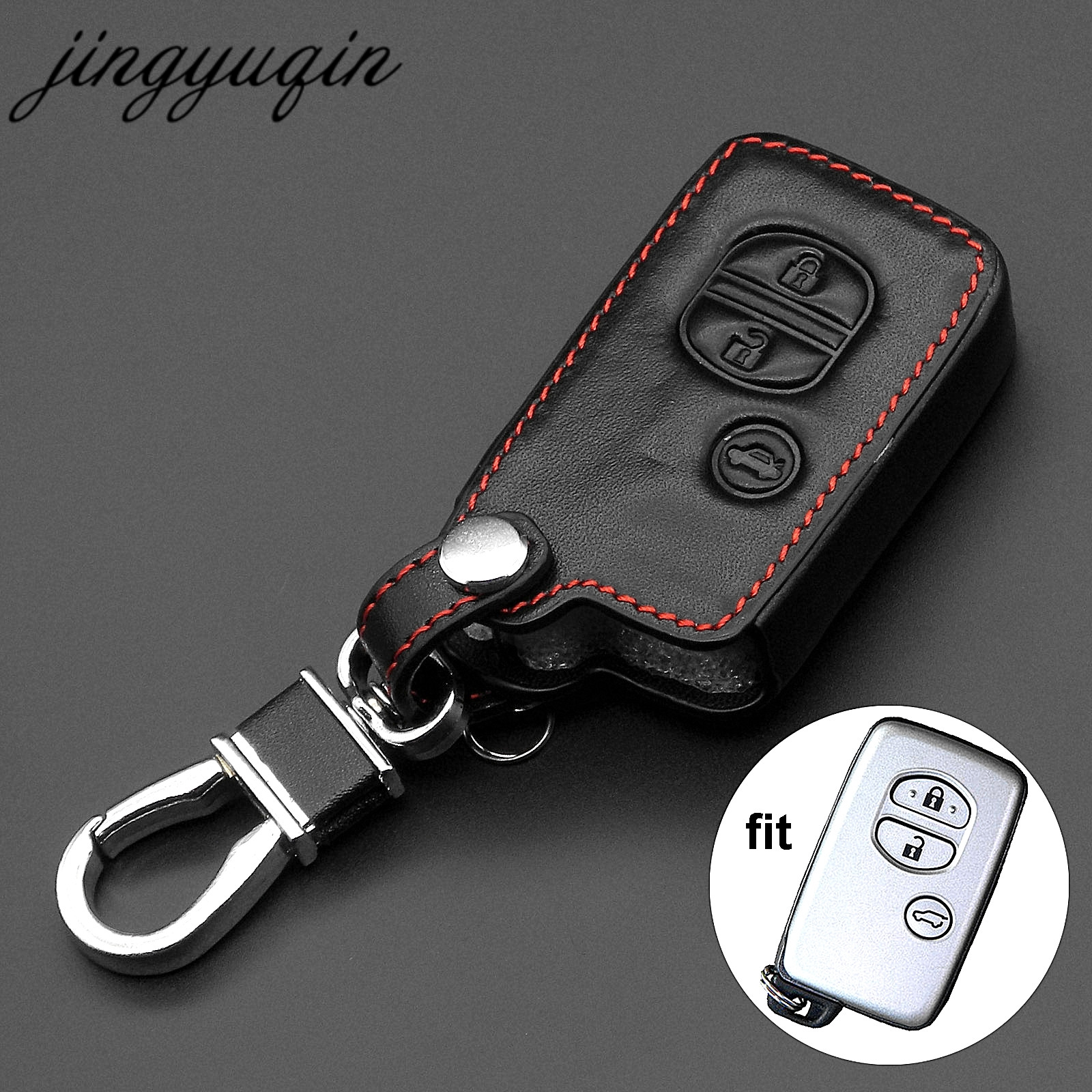 Jingyuqin Leather Car Key Case Cover For Toyota Land Cruiser Prado 150 Camry Prius Crown For Subaru Foreste Outback XV Legacy