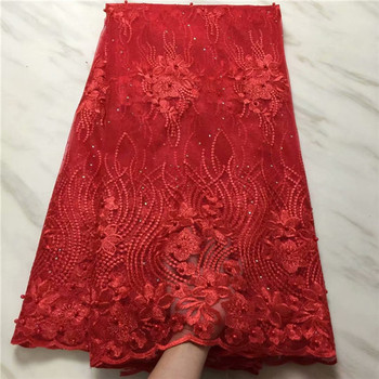 Latest Red Beaded Tulle Lace Fabric Nigerian French Tulle Lace Fabric With Stones Embroidered African Lace Materials 1612