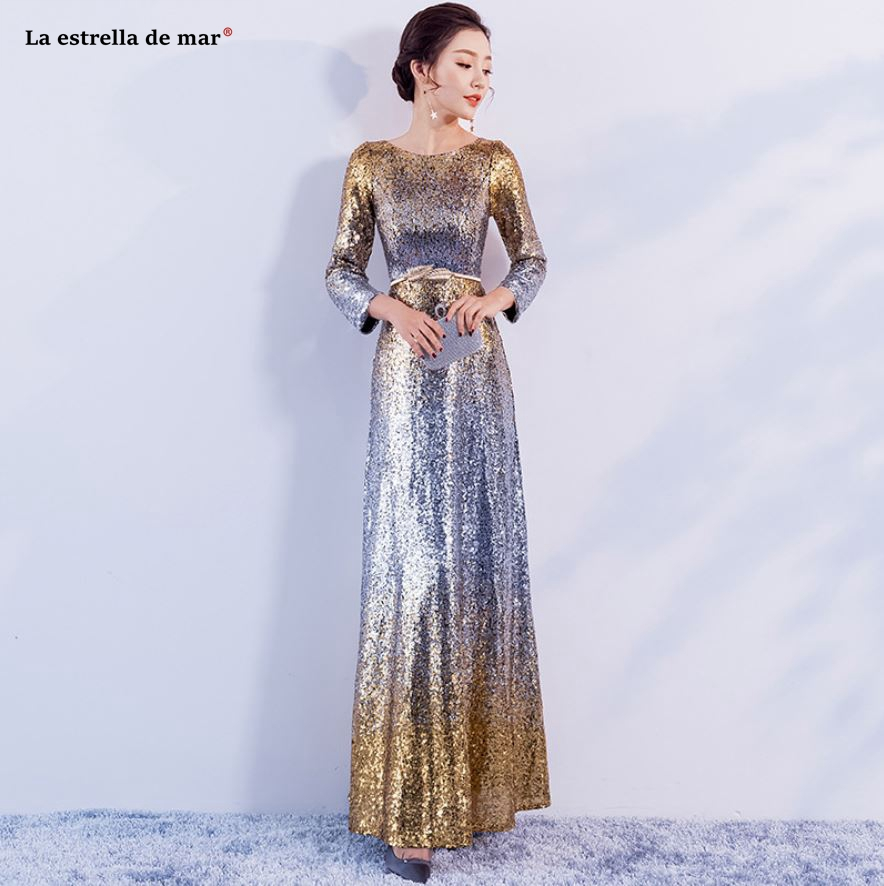 Vestido madrinha casamento longo2018 new Gold purple sequined long sleeve   bridesmaid     dress   sparkling sukienki na wesele damskie