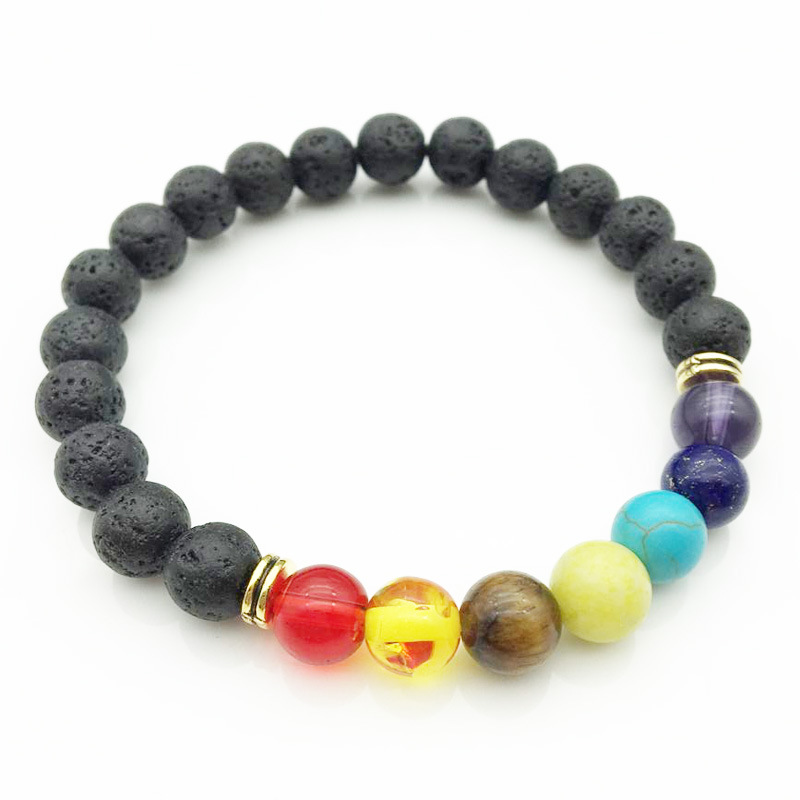 Vintage Rainbow Stone Hologram Bracelets for Men Women 7 Colors Lava Beads Bracelets Male Braslet Pulseira Masculina