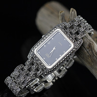 Лидер продаж Для женщин классический тайский серебряный часы с серебряным браслетом S925 часы с серебряным браслетом чистый часы с серебряны