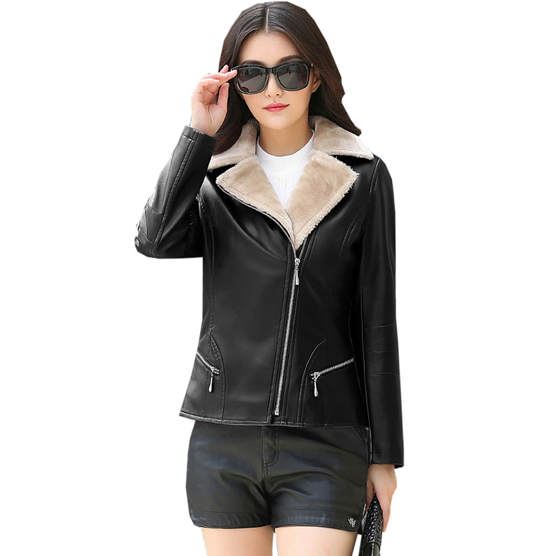 2017 Winter Faux   Leather   Jacket Women Short Slim Warm Thick Fur Collar   Suede   Coat PU   Leather   Coat Women Jacket Outerwear RE0158