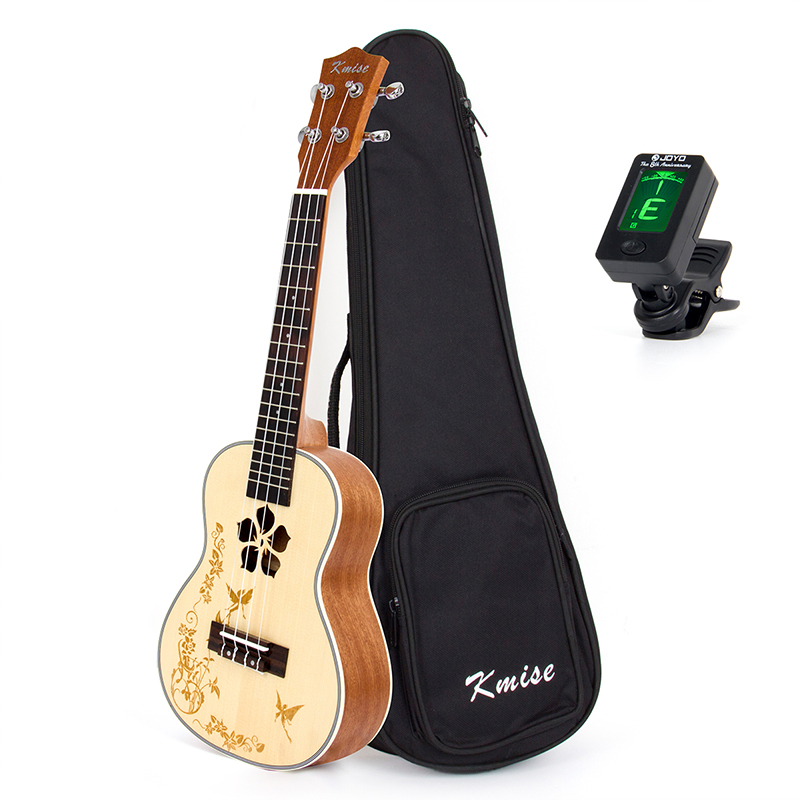 Kmise Concert Ukulele Solid Spruce 23 Inch 18 Fret Mahogany Ukelele Uke 4 String Hawaii Guitar with Gig Bag Tuner 21 inch colorful ukulele bag 10mm cotton soft case gig bag mini guitar ukelele backpack 2 colors optional