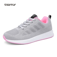 SWYIVY Women Running Shoes Woven Breathable Lace Up Sneakers 2018 Solid Color Soft Jogging Shoes Super
