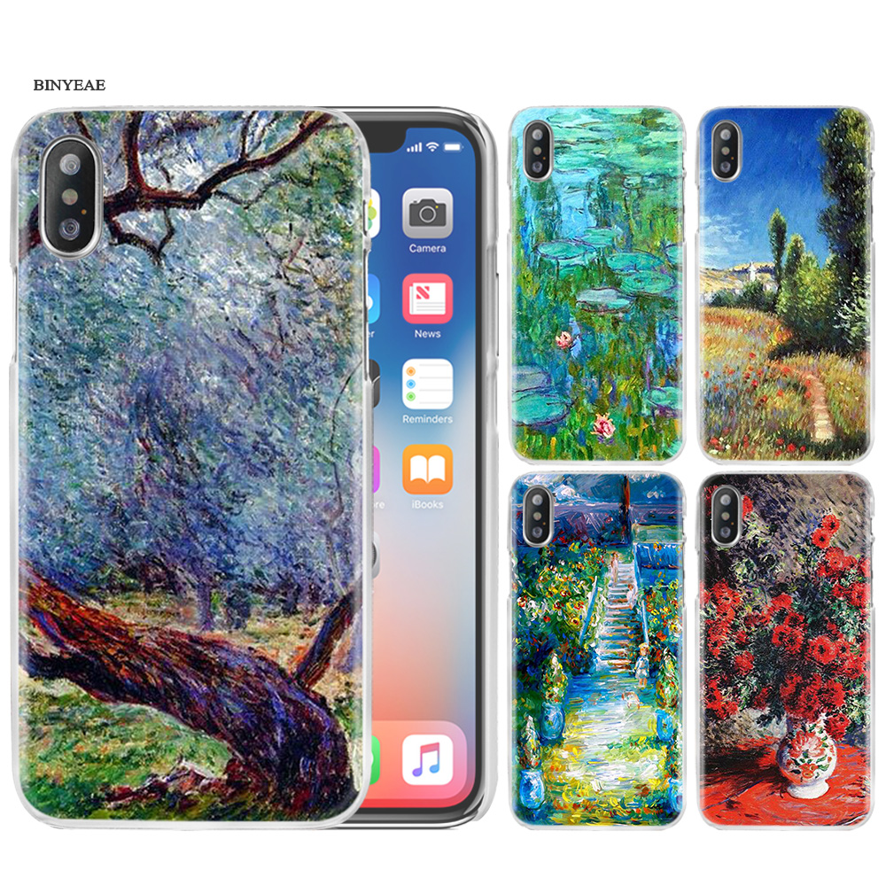 Hard PC Plastic Phone Case Cover Clear for iPhone XS Max XR 7 8 6 6s Plus X 5 5s SE 5C 4 4S Claude Monet Impressionism Painter