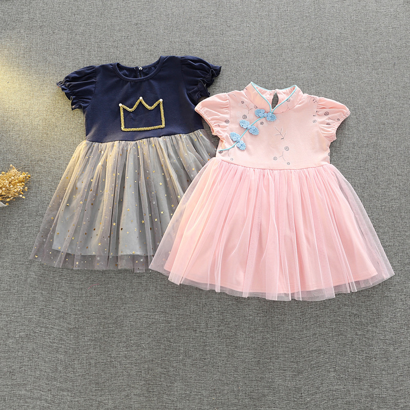 Baby girls dress Chinese style short dress Crow grey A line costume Baby Kids Clothing Vestidos Day Fairy Tutu Mini Dress