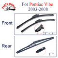 Combo Silicone Rubber Front And Rear Wiper Blades For Pontiac Vibe 2003-2008 Windscreen Wipers Car Accessories