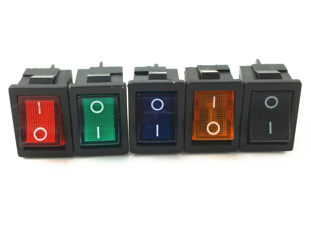 KCD1 Light Illuminated DPST 4P ON-OFF Snap in Rocker Switch 6A/250V 10A/125V AC mini 5pcs ac 6a 250v 10a 125v 5x 6pin dpdt on off on position snap boat rocker switch t1404 p0 5