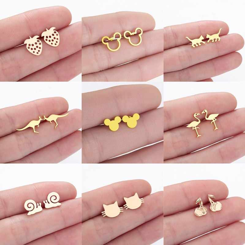 Cute Mickey Mouse Earrings Baby Kitty Cat Crane Snail Cartoon Animal Fashion Statement Jewelry Women Stud Earrings Kids Gift