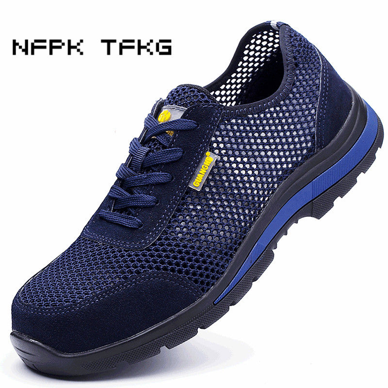 mens casual comfort hollow mesh steel toe cap work safety shoes summer breathable worker dress security boots protect footwear все цены
