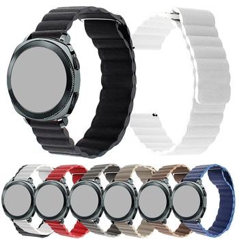 Correa de reloj Universal 22mm 20mm de liberación rápida de cuero genuino reloj con banda magnética para Samsung Live R382 cinturón para Amazfit Bip