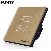 FUNRY ST2 Touch Switch 2gang 1 Way EU Standard Sensor Wall Light Switch Luxury Crystal Glass