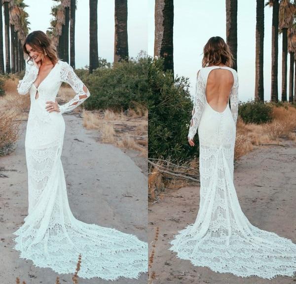 Mermaid Bohemian Wedding Dresses 2019 Sexy Deep V Neck Open Back Long Sleeves Full Lace Bridal Gowns Summer Beach Bride Novia
