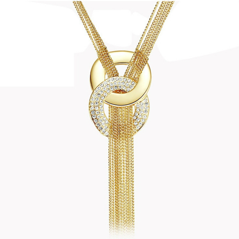 New Fashion Gold Silver Color Double Round Circle Pendant Necklace For Women Full Crystal Link Sweater Chain Tassel Necklace image