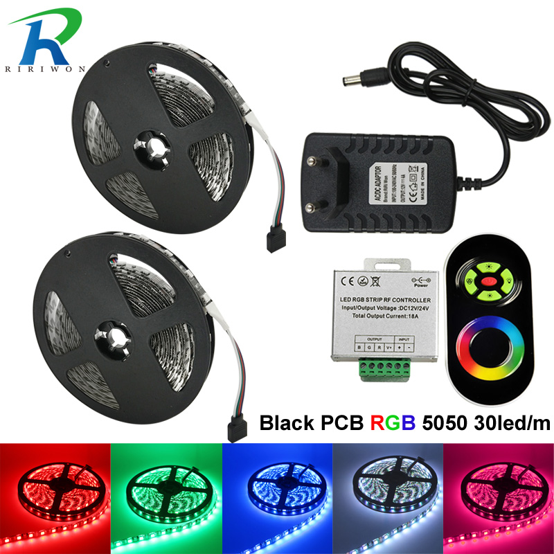 10m RGB LED Strip Light 5050 SMD Flexible 5050 DC12V Flexible Black PCB RGB Strip, No Waterproof, With RF Wireless Touch+adapter 10m 5m 3528 5050 rgb led strip light non waterproof led light 10m flexible rgb diode led tape set remote control power adapter