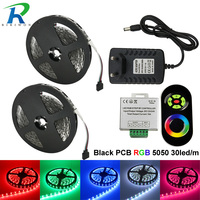 10m RGB LED Strip Light 5050 SMD Flexible 5050 DC12V Flexible Black PCB RGB Strip, No Waterproof, With RF Wireless Touch+adapter