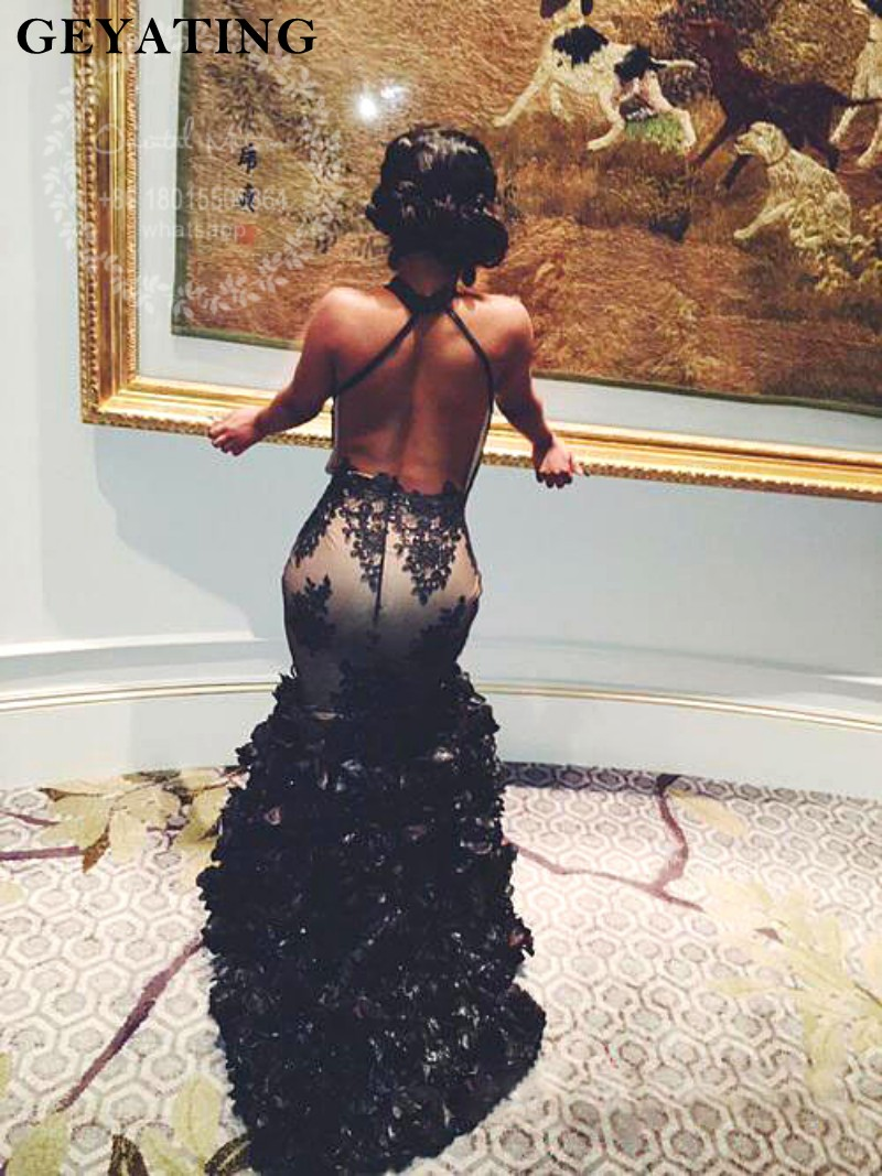 dd35f739568 Sexy Keyhole High Neck Black Lace Backless Ruched Ruffles Prom Dress 2019 Long  African Black Girls Prom Dresses Evening Gowns-in Prom Dresses from  Weddings ...