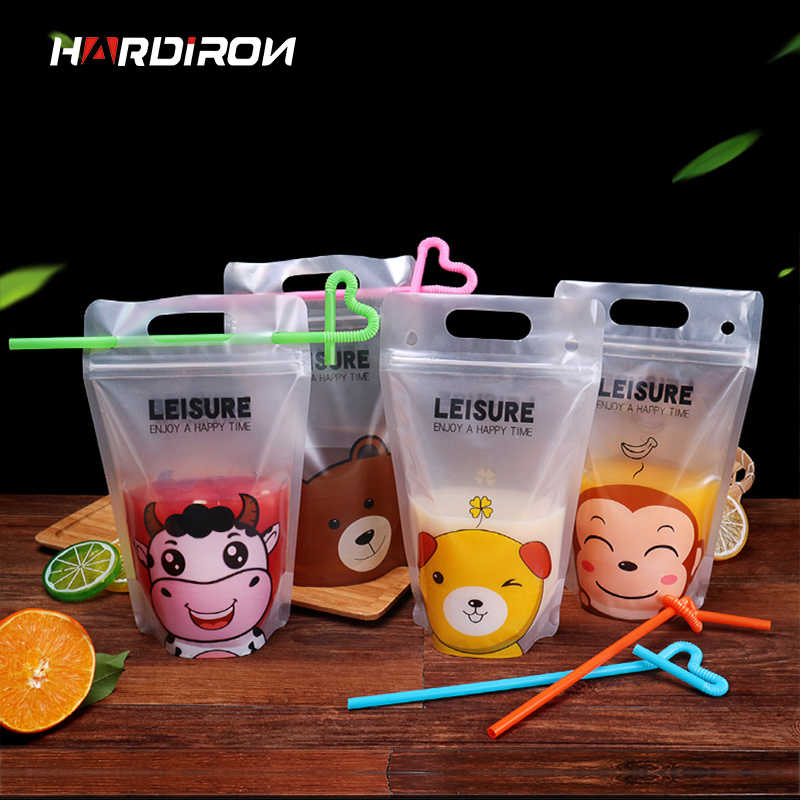 HARDIRON New Creative Cartoon Pattern Disposable Translucent Scrub Drink Bag Juice Milk Portable Zipper Packaging Stand-up Pouch