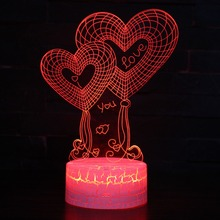 Valentines Day Love You Heart 3D Lamp LED Night Light 7 Colors Table Lamp Home Decor Bulb Touch Sensor Luminarias for Wife Gift love heart shaped confession gift led night light