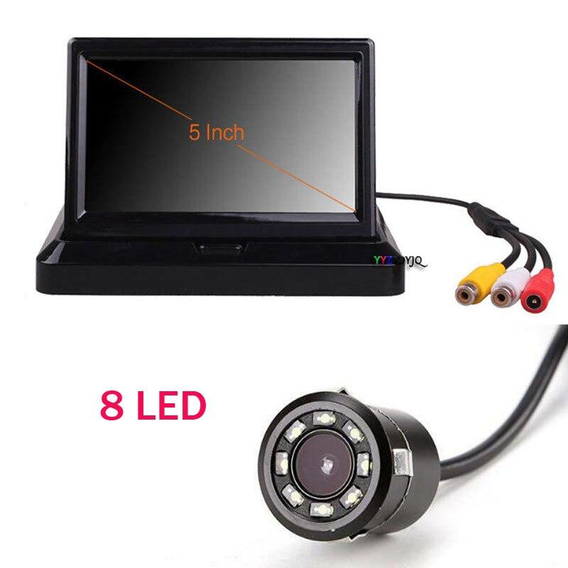 5 pouces pliable voiture tableau de bord moniteur LED écran vue arrière IR caméra de recul Vision nocturne de secours 8 LED étanche