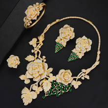 SisCathy Luxury Big Rose Flower Jewelry Sets For Women Wedding Party Dress Indian Bridal Cubic Zircon CZ 2019
