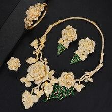 SisCathy luxe grand Rose fleur ensembles de bijoux pour les femmes robe de soirée de mariage indien mariée cubique Zircon CZ ensembles de bijoux 2019