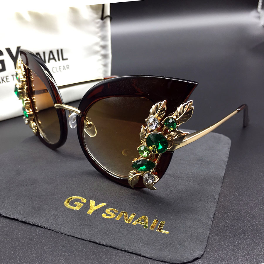 GY snail fashion cat eye sunglasses women diamond frame vintage brand designer luxury sun glasses for women mirror oculos de sol