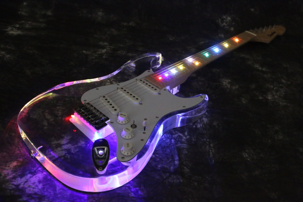 Export Factory High Quality Acrylic Body LED Light Strat St Electric Guitar Guitarra Free Shipping