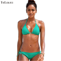 2017 New Sexy Bikinis Women Swimwear Push Up Swimsuit Halter Top Biquini Padded Bathing Suit Lace