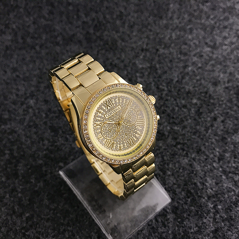 2018 new sky diamond crystal Roman steel business quartz watch simple men and women watch wrist
