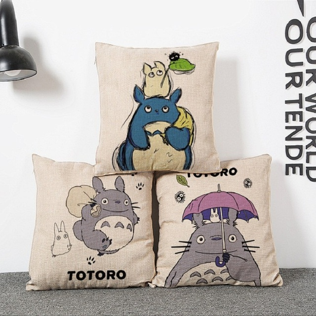 Hayao Miyazaki Style Home Decorative Pillow Totoro Sofa Throw Pillow Car Home  Decor Linen Cotton Cushion