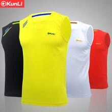 Kunli новая Мужская теннисная рубашка для спорта на открытом воздухе с круглым воротником одежда для бега бадминтона баскетбольная короткая футболка
