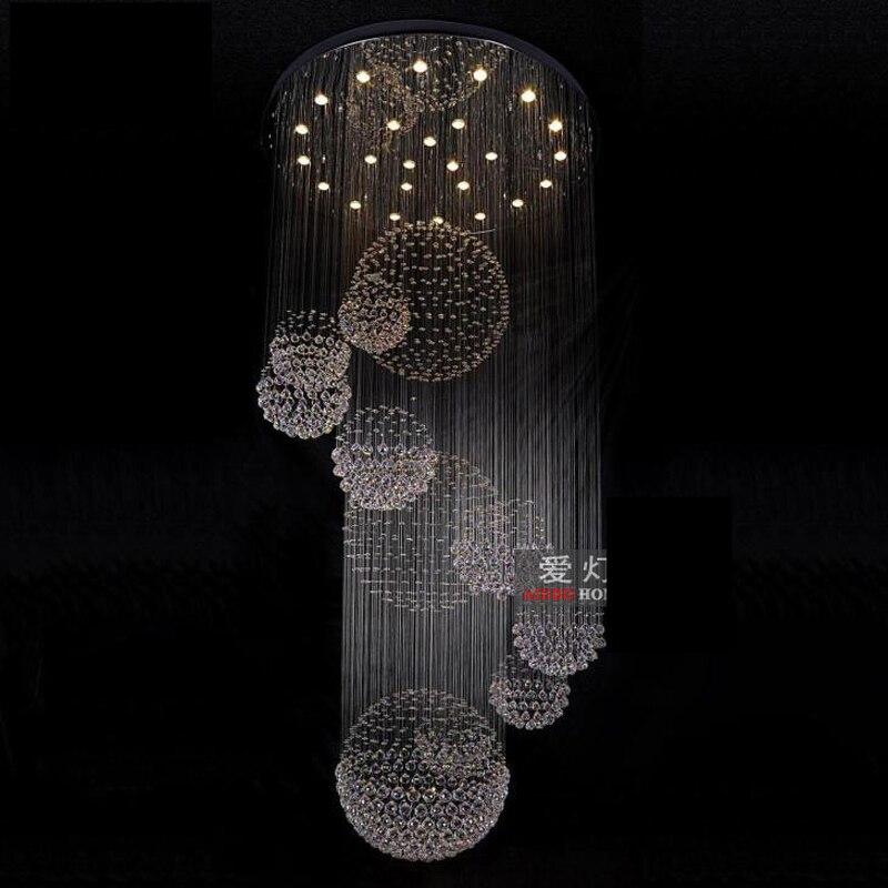 Большой современный хрустальная люстра для лобби блеск pendentes лестница люстра Освещение dia100 * h300cm