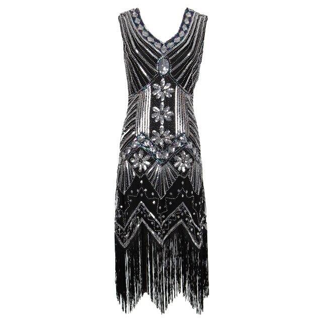Women 1920 s Vintage Great Gatsby Dress Sequins Dress V-Neck Tassels Bodycon Beaded Party Dress Flapper Dresses Art Deco Double 11