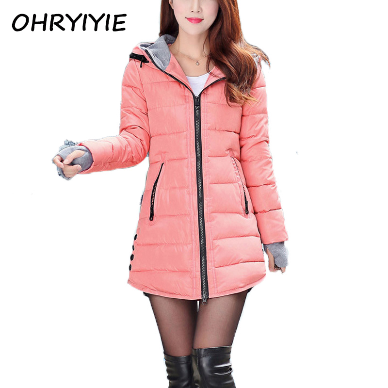 OHRYIYIE 2017 Women's Autumn Winter Jacket Long Parkas For Women Hooded Warm Cotton Padded Lady Jackets And Coats Manteau Femme womens winter jackets and coats 2016 thick warm hooded down cotton padded parkas for women s winter jacket female manteau femme