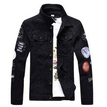 Black Denim Jacket Men Hip Hop Bomber Military Jeans Jacket Mens Slim Fit Digital Print 2018 Spring Autumn Coat for Men J034