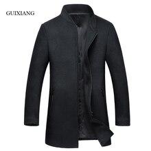 2017 new autumn and winter style men woolen coat business casual stand collar slim men's solid wool windbreaker jacket M-3XL