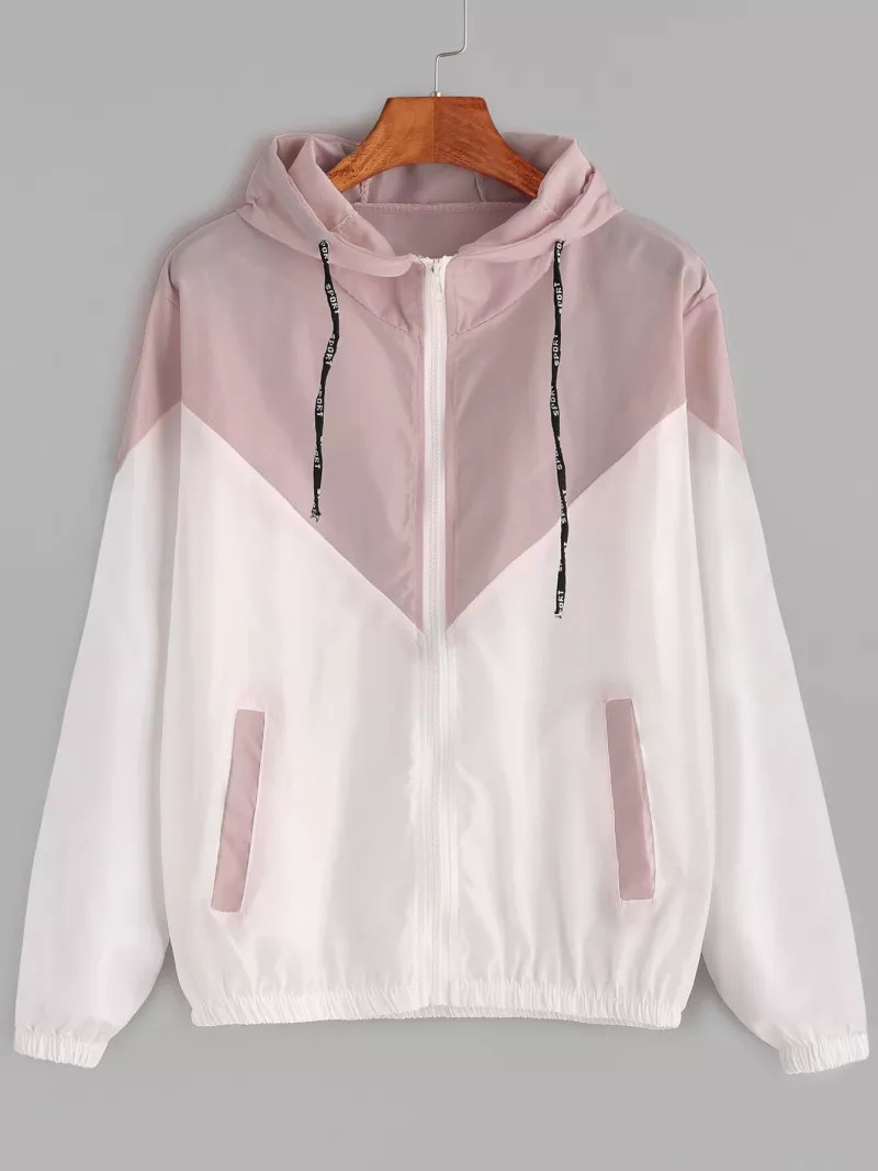 HTB1PlVGNHvpK1RjSZPiq6zmwXXay Europe and the United States in the summer 2018 women s clothing color matching elastic waist hooded jacket