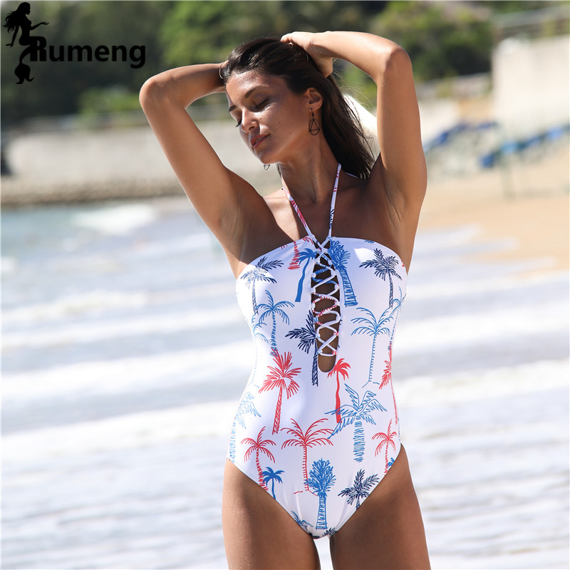 RUMENG <font><b>2018</b></font> New <font><b>Sexy</b></font> Swimwear <font><b>one</b></font> <font><b>piece</b></font> <font><b>Swimsuit</b></font> Women <font><b>Bathing</b></font> suits Brazilian <font><b>Bathing</b></font> Monokini Beachwear Print Bandage Bodysuit image