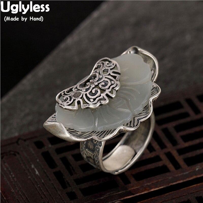 Uglyless exagéré 33MM grand anneau visage creux papillon anneaux pour les femmes 925 argent insecte bijoux rétro Thai argent anneaux ouverts