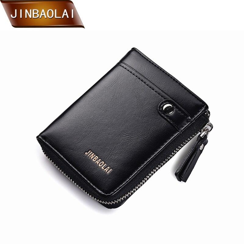 JINBAOLAI Short Wallet Men PU Leather with Card Holder Multifunction Brand Coin Zipper Purse carteira