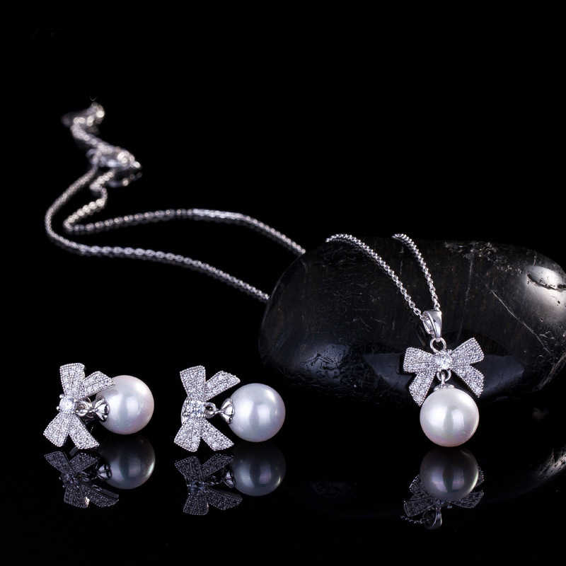 Best Gift white Cubic Zirconia Bow With Big Pearl Earrings and Pendant necklace AAA+ White CZ Jewelry Sets For Women