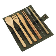 6Pcs/pack Japanese Wooden Cutlery Set Bamboo Straw With Cloth Bag Kitchen Cooking Tools
