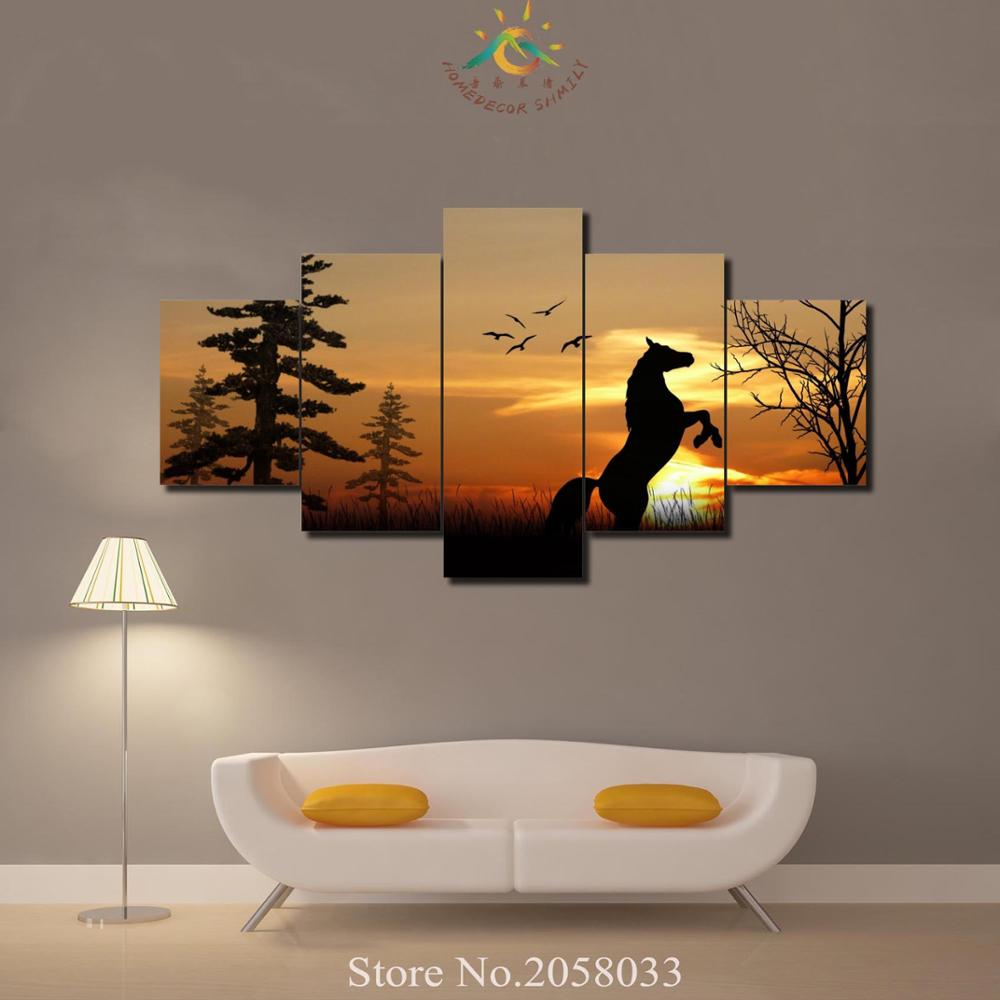 3-4-5 Pieces Sunset Jumping Horse Wall Art Paintings Picture Paiting Canvas Paints Printed Wall HD Wall Art Pictures Painting