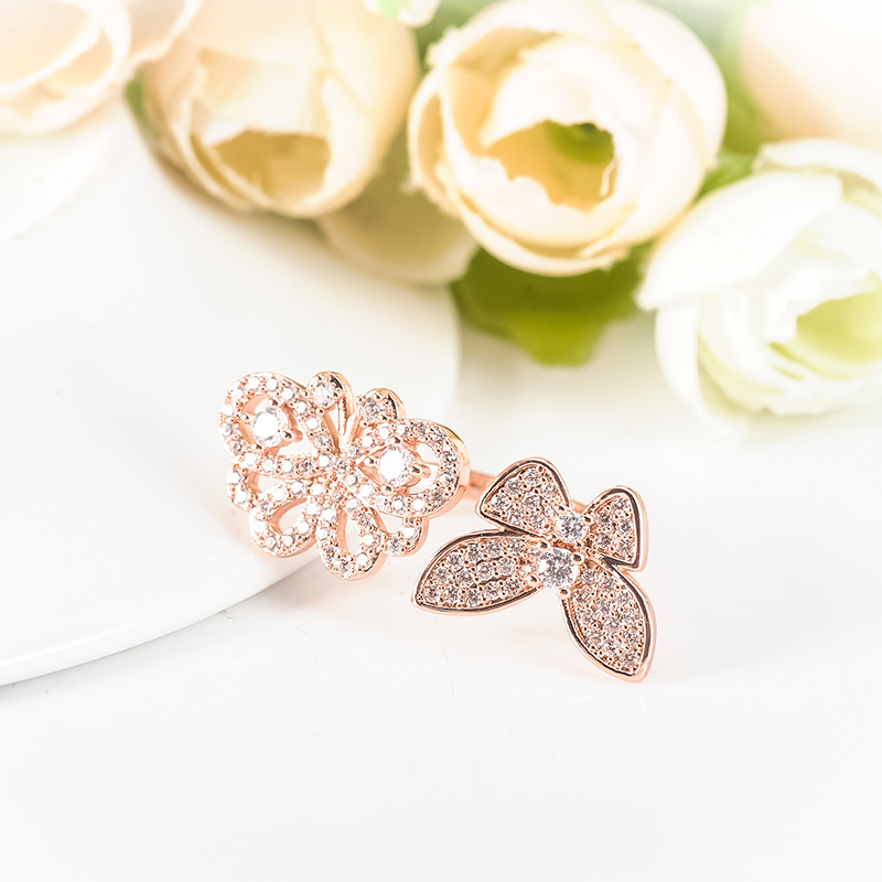 Suplush Particular Design Luxury CZ Rings Double Butterfly Shaped Rose Gold/Silver Color Opening Size Wedding Bands CRI1046