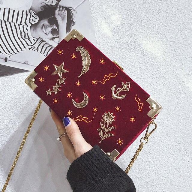 Women S Designer Handbag 2018 Fashion Handbags High Quality Velvet Embroidery Stars Box Bag Elegant Lady
