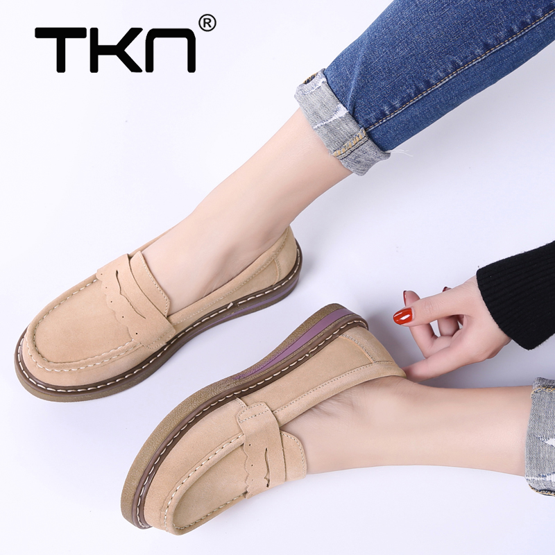 2019 Spring Women Loafers Platform Flats Shoes   Leather     Suede   Slip on Tenis Feminino Ballerina Flats Thick Soled Sneakers 3552