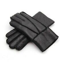 Unisex Fur Gloves for Lovers 2019 Winter Warm Sheep Genuine Leather Waterproof Motorcycle Gloves Men Women Warm Gloves Finger