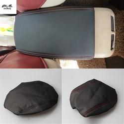 O envio gratuito de 1 conjunto para 2009-2012 volkswagen vw golf 6 mk6 acessórios do carro couro do plutônio caixa apoio de braço capa proteção