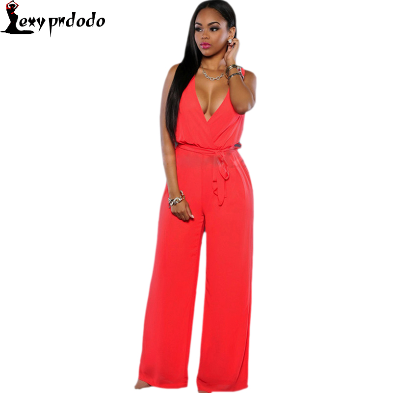Red Elegant cheap bandage Jumpsuit Sleeveless V-neck Sexy Rompers Wide Pants Women Jumpsuits fajas modeladoras reductoras mujer